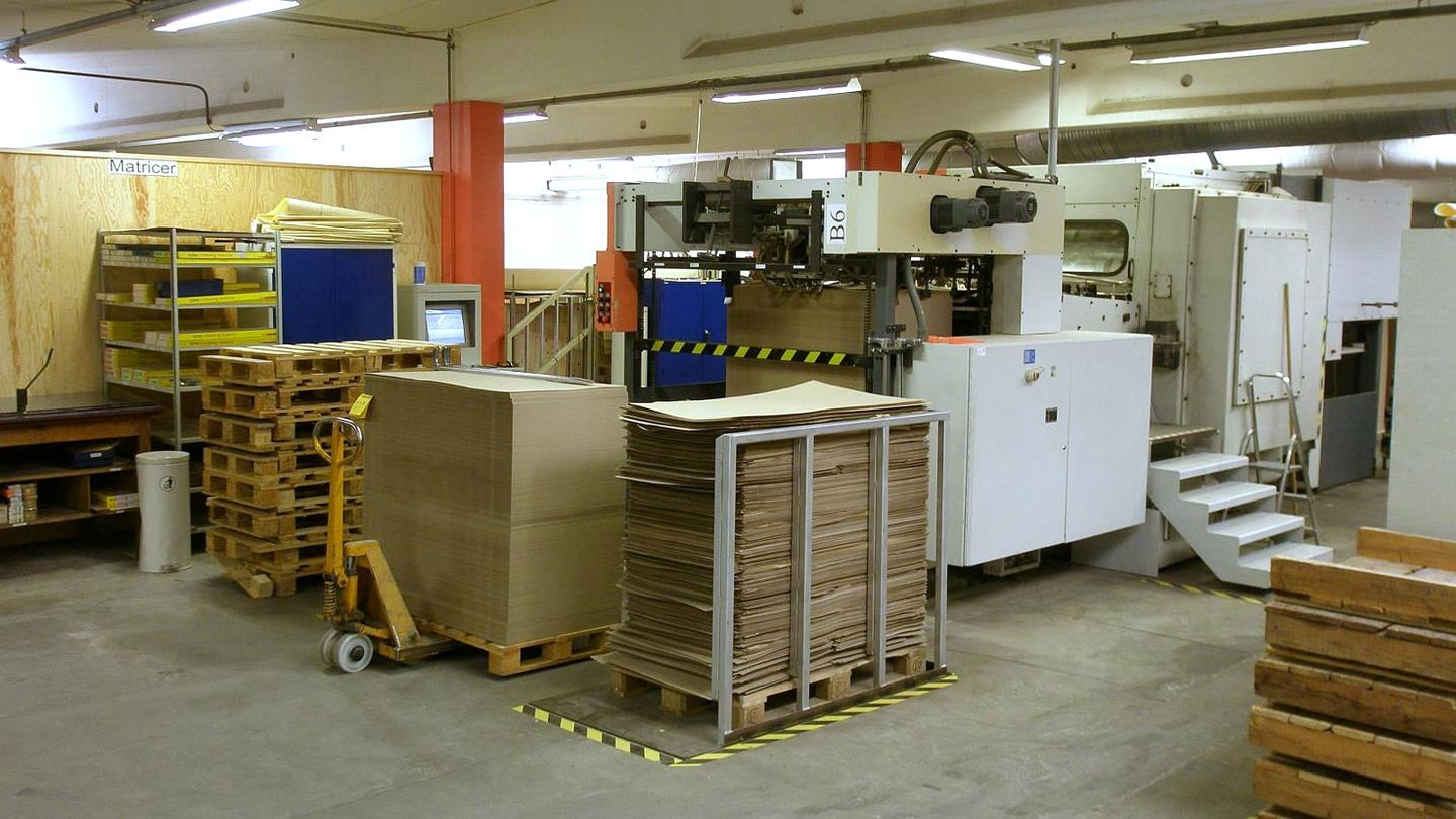 Cardboard sheets and pallets in the production area of Beck Pack