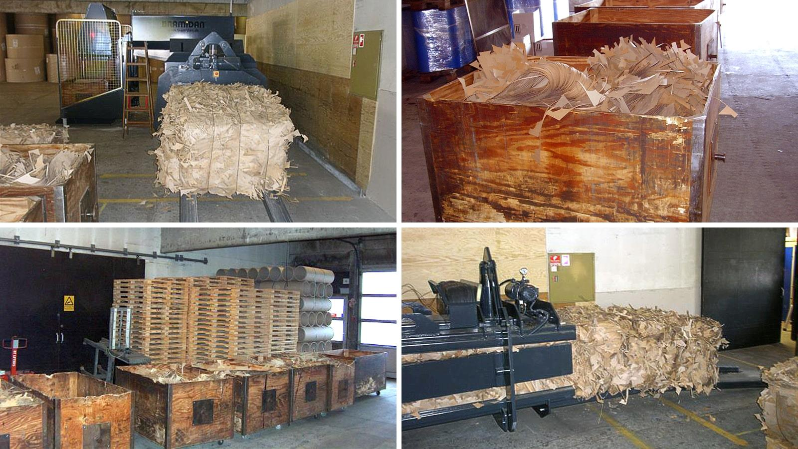 Collage of wooden boxes and bales of cut cardboard in horizontal channel baler