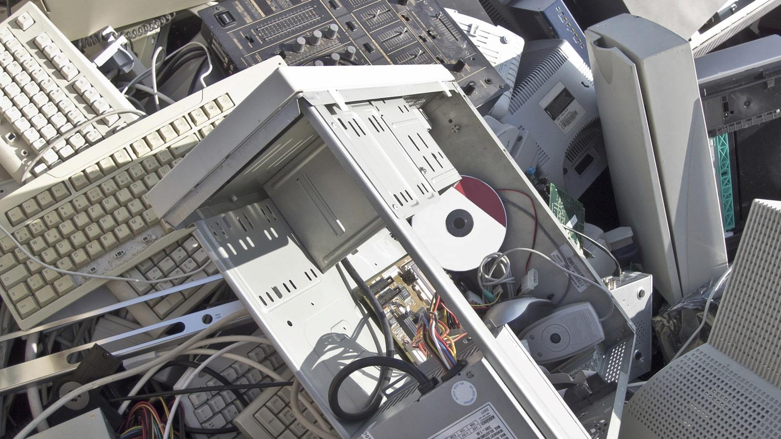 Electronic scrap of used computers and cabinets