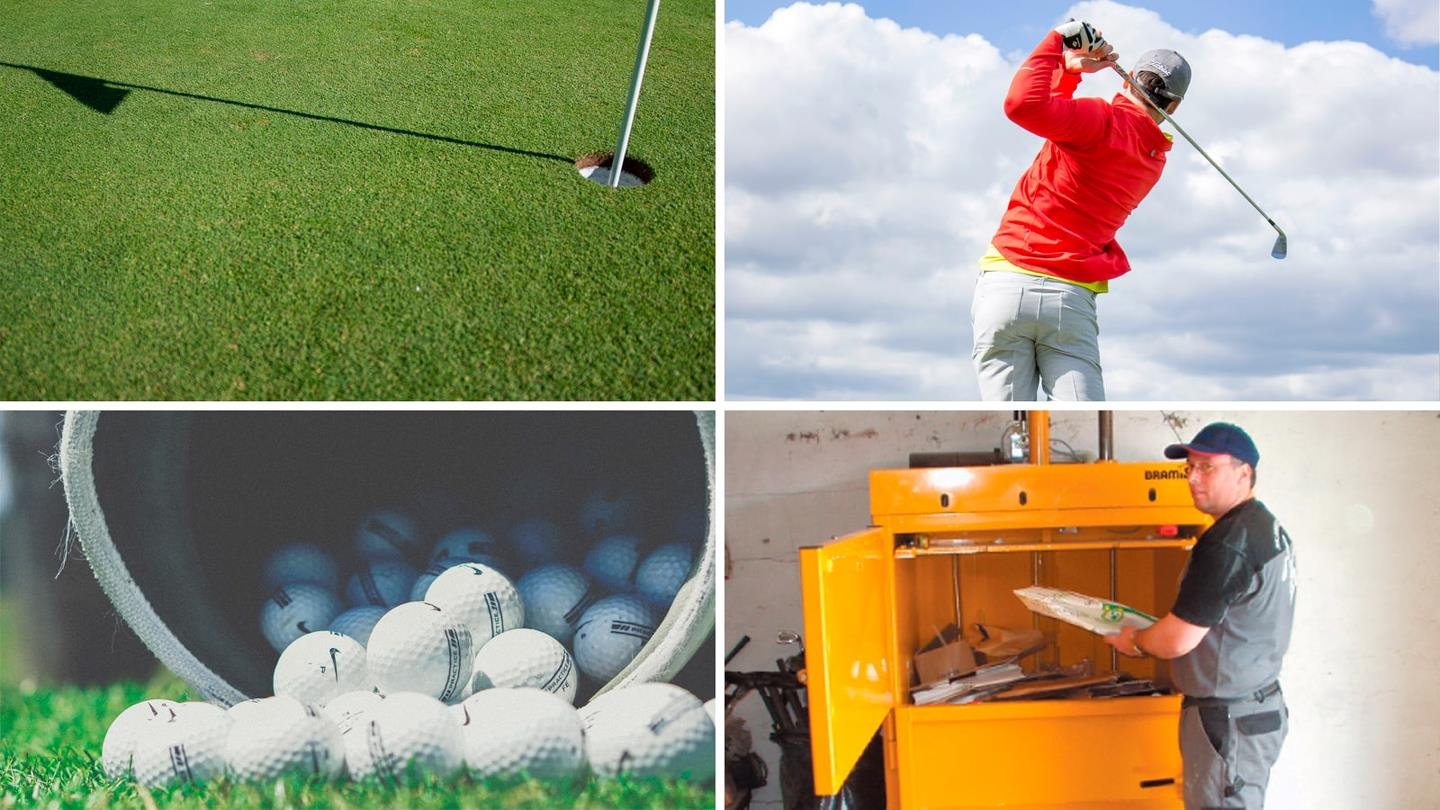 Collage of man playing golf and employee at yellow baler