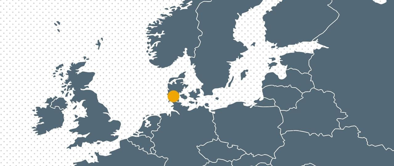 Map Europe with dot for Bramidan Headquarters Denmark